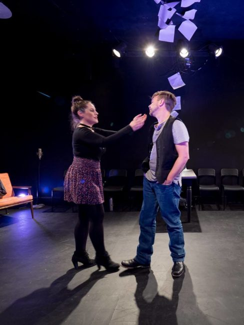Amber Wood (left) as Susan and Adam Cooley (right) as Jonathan in Tick, Tick...BOOM!