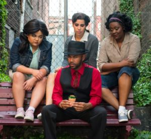 (L to R) Elena Gage as Chiffon, Brian Paul as Audrey II, Monica Albrizo as Ronnette, and Renata Hammond as Crystal