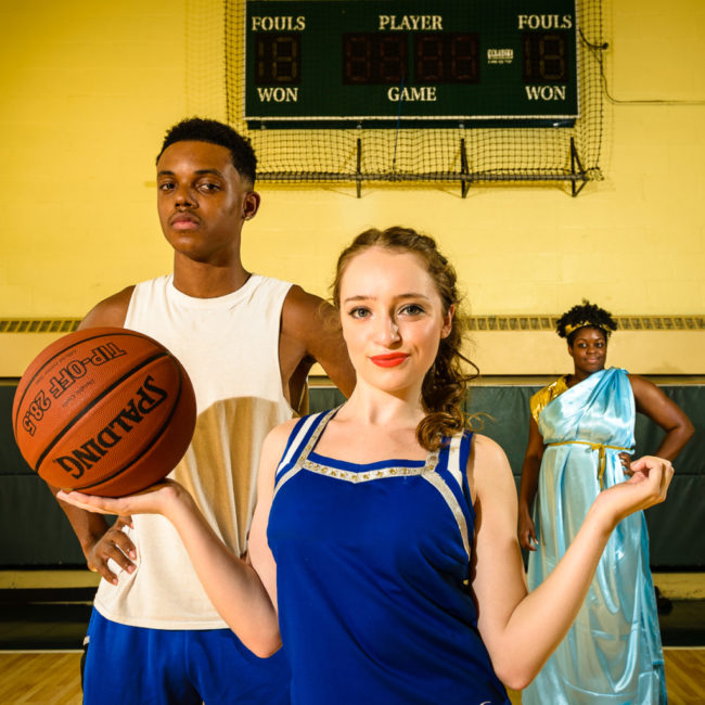 Patrick J. Cambell (left) as Mick, Hailey Ibberson (center) as Lysistrata Jones, and Taylor Washington (right) as Hetaira