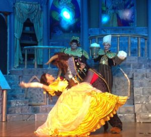 Ilyssa Rubin (left) as Belle and Tom Zepp (right) as Beast