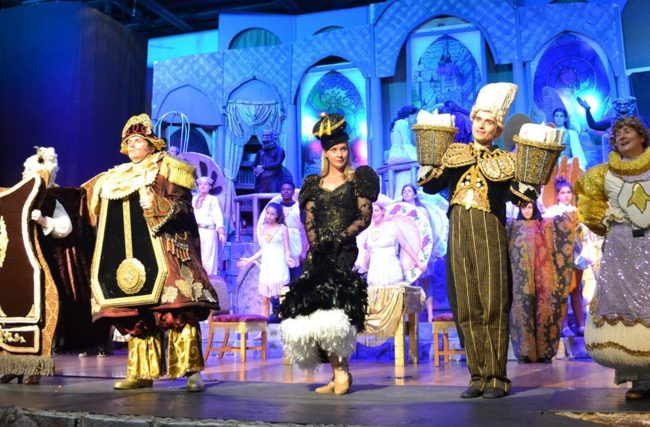 (L to R) Colleen Esposito as Madame de laGrande Bouche, Cameron Casey as Cogsworth, Lori True as Babette, Henry Cyr as Lumiere, and Mary Margaret McClug as Mrs. Pots