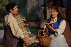 Mike Ferrante (left) as The Bookseller and Alyson Marks (right) as Belle