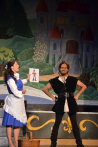 Alyson Marks (left) as Belle and Matthew Lamb (right) as Gaston