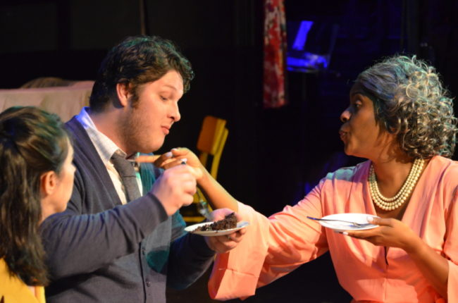 Chara Bauer (left) as Winnie with Chad Short (center) as Marcus and Mia Robinson (right) as Calista in Running Interference by Amy Bernstein