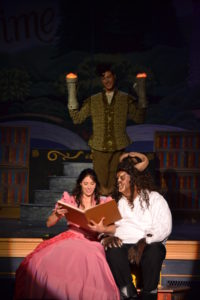 Alyson Marks (left) as Belle, Jack Merson (center) as Lumiere, and Michael Livingston (right) as Beast