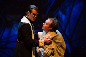 Brian Nabors (left) as Dom Claude Frollo and Samuel Kobren (right) as Quasimodo