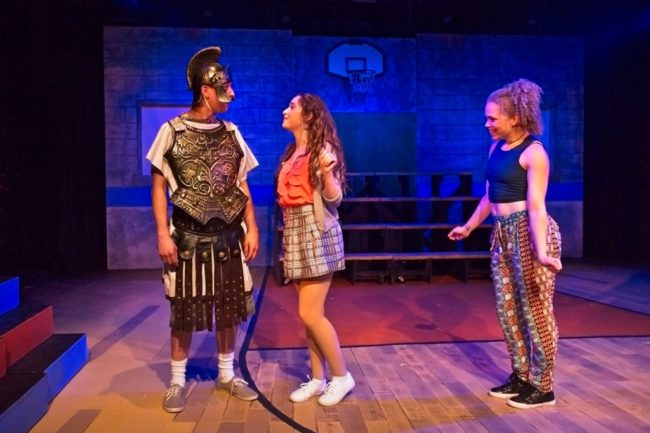 Taylor Witt (left) as Xander, Hailey Ibberson (enter) as Lysistrata Jones and Angeleaza Anderson (right) as Lampito