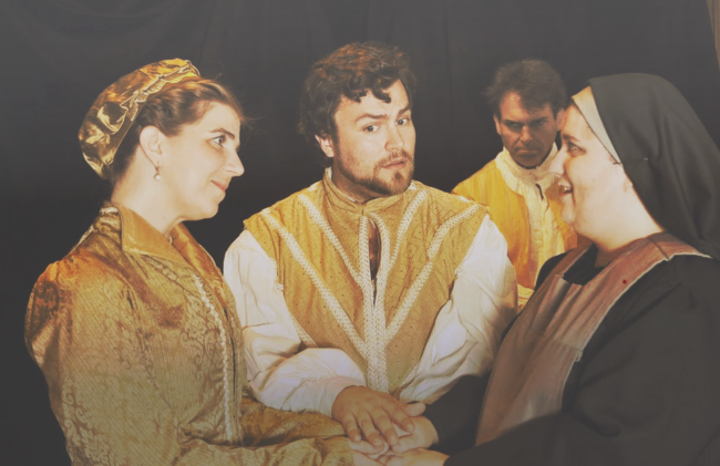 (from left): Amy Griffin (Mariana), John Moss (Duke Vincentio), Glen Hochkeppel (Angelo), Leandra Lynn (Isabella)