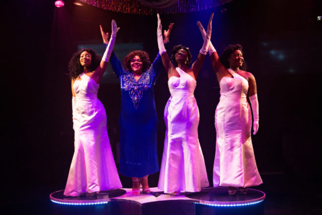 (L to R) Sequina DuBose as Deena, Crystal Freeman as Effie Melody White, Denae' Fielder as Michelle, and Ashley Johnson as Lorell
