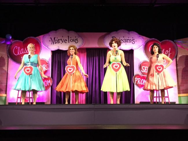 (L to R) Sarah Elizabeth Sickles as Suzie Simpson, Stephanie Mahoney as Missy Miller, Emily Elborn as Betty Jean Reynolds, and Cindy Lou Huffington as Natalie Knox