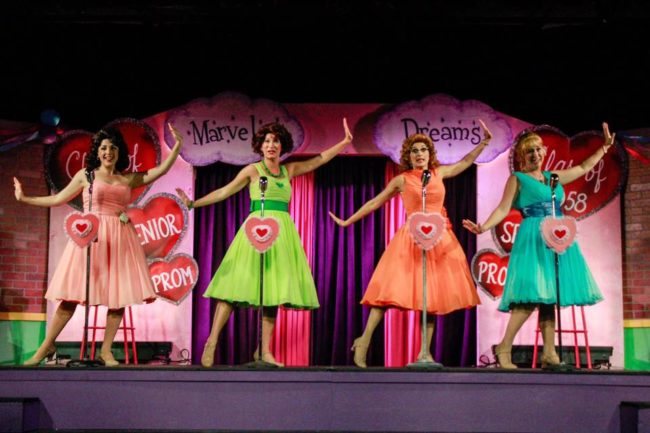 (L to R) Natalie Knox as Cindy Lou Huffington, Emily Elborn as Betty Jean Reynolds, Stephanie Mahoney as Missy Miller, and Sarah Elizabeth Sickles as Suzie Simpson