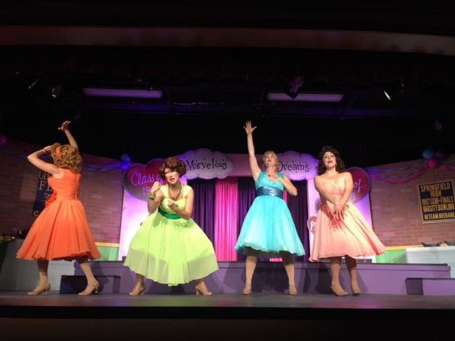 (L to R) Stephanie Mahoney as Missy Miller, Emily Elborn as Betty Jean Reynolds, Sarah Elizabeth Sickles as Suzie Simpson, and Natalie Knox as Cindy Lou Huffington