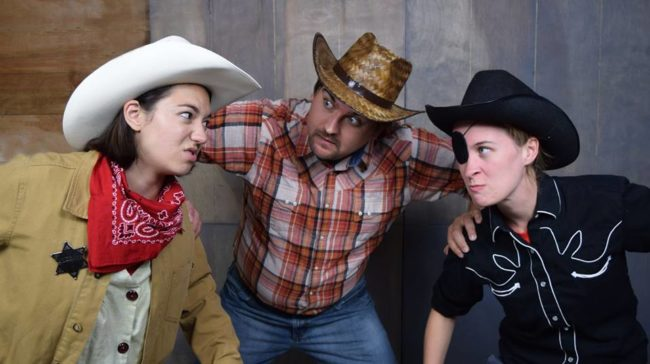 Kelsey Yudice (left) as Pufferfish Pat, Alex Miletich IV (center) as Cookie, and Elle Marie Sullivan (right) as One-Eyed Jack
