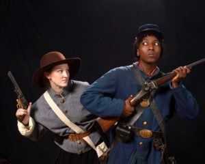 Carrie Brady (left) as LucyGale Scruggs and Ashley Spooner (right) as Ranger Wilson