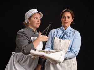 Jamie Erin Miller (left) as Clara May Abbott and Laura Ivey (right) as Meg Barton
