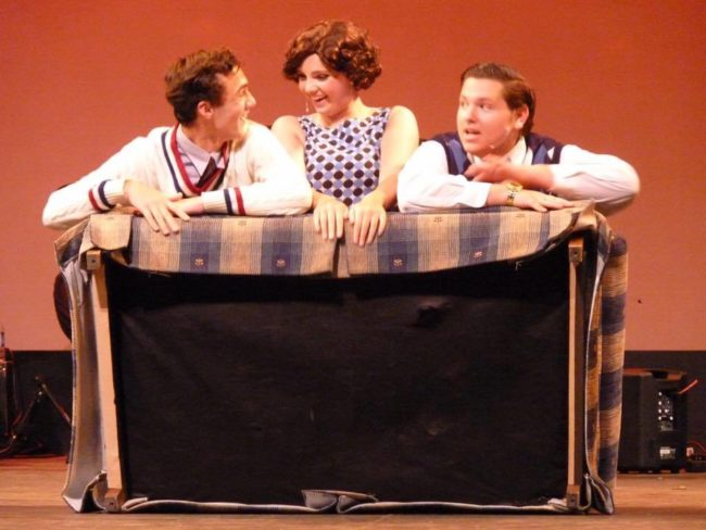 Kevin Franiak (left) as Don Lockwood, Rachel Miller (center) as Katy Selden, and Matthew Trulli (right) as Cosmo Brown in Singin' in the Rain Jr.