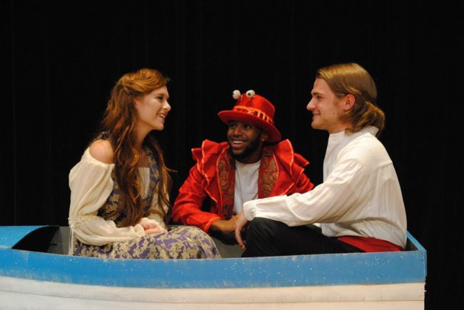 Isabella Bordner (left) as Ariel, Isaiah Graves (center) as Sebastian, and Joshua Starkey (right) as Prince Eric