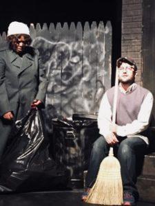 Corisa Myers (left) as a street bum on Skid Row with Jonathan Jackson (right) as Seymour