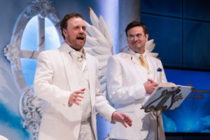 Tom Story (God) and Jamie Smithson (Gabriel) in An Act of God at Signature Theatre.
