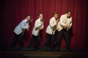 (L to R) The Whiffles- Johnny Dunkerly, Jacob Hale, Matt Sorak as Baldwin Blandish, and Jeff Miller