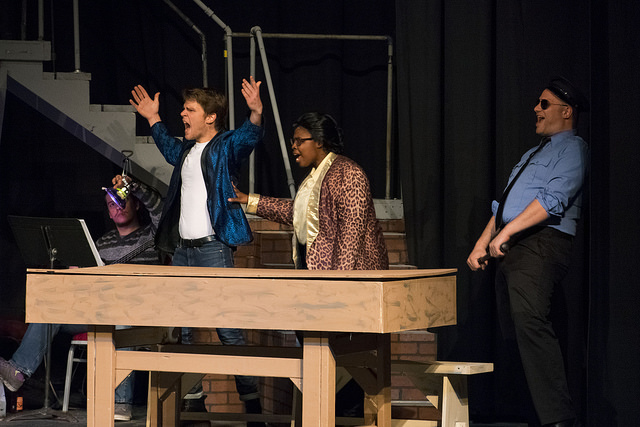 """Michael Nugent (left in blue) as Wade """"Cry Baby"""" Walker, Monique Cheryse Wilson (center) as Dupree W, Dupree and Christopher Kabara (right) as The Bailiff"""