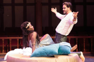 A moment of flirtatious play between Mark Antony (Cody Nickell) and his Cleopatra (Shirine Babb) in the epic tale of Antony and Cleopatra.