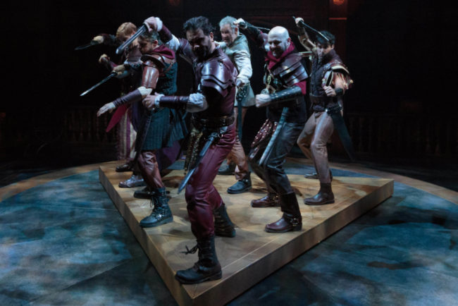 Mark Antony (Cody Nickell, front center) and his army at war in Shakespeare's romantic tragedy, Antony and Cleopatra at Folger Theatre.