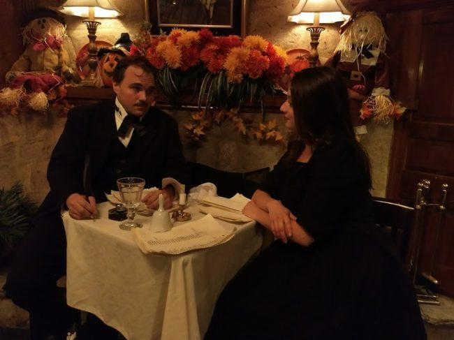 John Kelso (left) as Edgar Allen Poe and Lauren Engler (right) as Bar Maid