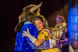 Dickie Mahoney (left) as The Beast and Elisabeth Haley (right) as Belle