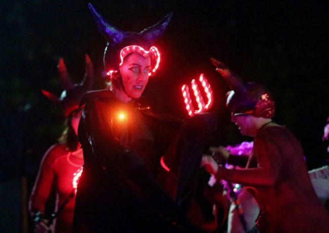 "Skaters featured during ""Demons of Infinite Darkness"" at Druid Hill Haunt: A Chiller Thriller Roller Show"