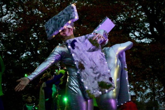 """Skaters featured in """"Dance of the Druids"""" at Druid Hill Haunt: A Thriller Chiller Roller Show"""