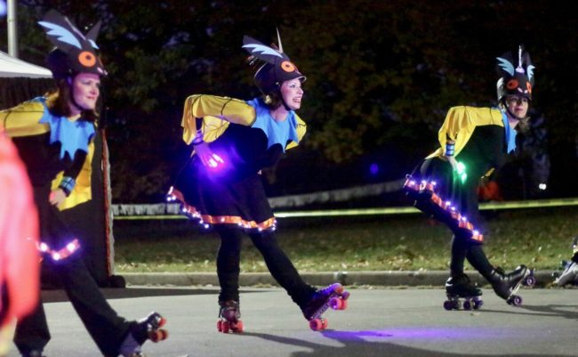 "Skaters during ""Beasts of Bone Chilling Fear"" at Druid Hill Haunt: A Chiller Thriller Roller Show"