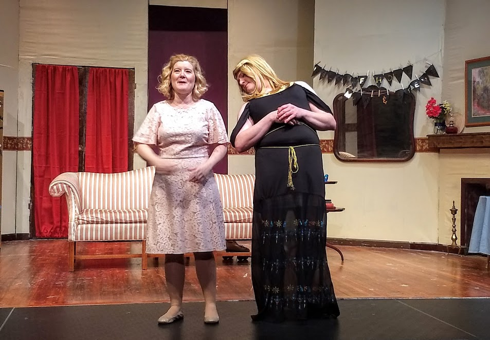 Ashley Gerhardt (left) and Jim Gerhardt (right) in Leading Ladies at The Salem Players