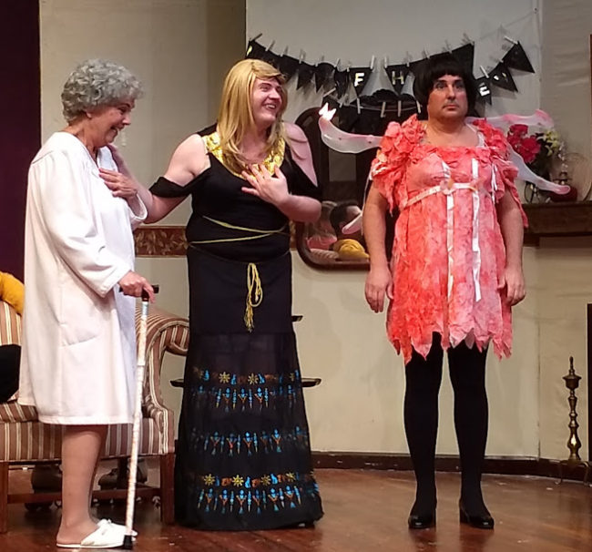 Marge Ricci (left) as Florence Snider, Jim Gerhardt (center) as Leo Clark, and Lenny Taube (right) as Jack Gable in Leading Ladies at The Salem Players