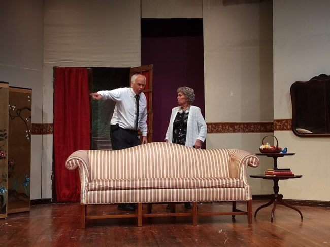 Tim Evans (left) as Doc Myers and Marge Ricci (right) as Florence Snider in Leading Ladies at The Salem Players