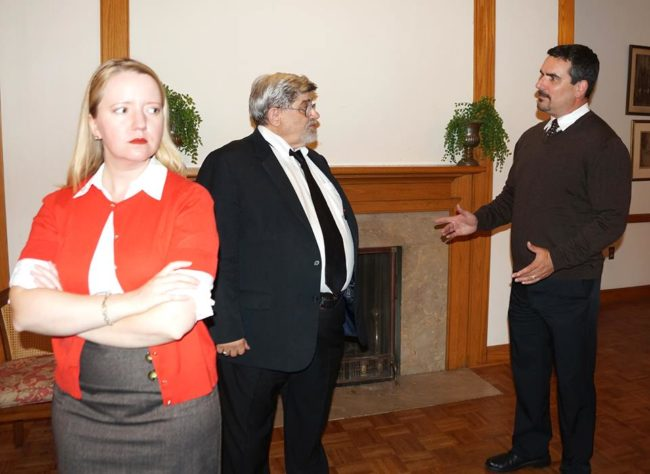 HanaLyn Colvin (left) as Molly Ralston, Marc Rehr (center) as Mr. Pavroccini, and Richard Pardoe (right) as Giles Ralston