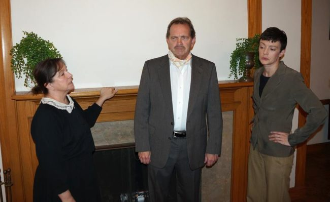 Cristine Fluke (left) as Mrs. Boyle, John Dignam (center) as Major Metcalf, and Jenn Mikulski (right) as Ms. Casewell