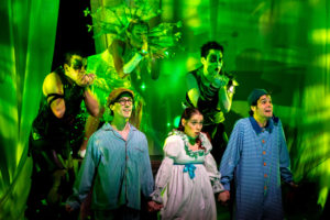 Back: (L to R) Alex Mills as Peter Pan, Ana Tsikurishvili as Tinkerbell, ZanaGankhuyag as Shadow. Front (L to R): Thomas Beheler as John Darling, Kathy Gordon as Wendy Darling, and Scott Whalen as Michael Darling