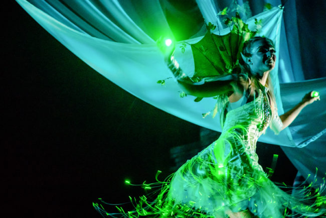 Ana Tsikurishvili as Tinkerbell in The Adventures of Peter Pan at Synetic Theater