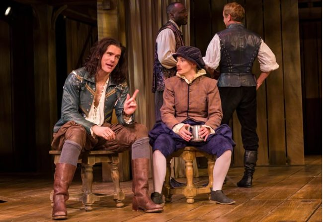 (l-r) Nicholas Carriere, Emily Trask, Jamal James and David Whale in Shakespeare in Love at Baltimore Center Stage