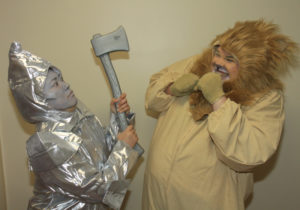 Marie Nearing (left) as The Tin Man and Stephen P. Yednock (right) as Cowardly Lion