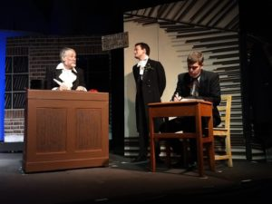 Richard Peck (left) as Ebenezer Scrooge, Ewan MacLean (center) as Fred and Terry O'Hara (right) as Bob Cratchit