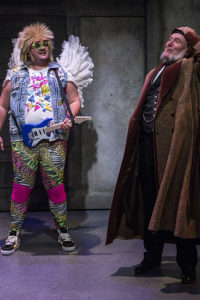Paul Jurewicz (left) as Ghost of Christmas Past and John Lescault (right) as Scrooge