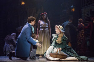 Joshua Grosso (left) as Marius, Phoenix Best (center) as Eponine, and Jillian Butler (right) as Cosette in the National Tour of Les Misérables