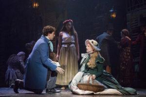 Joshua Grosso (left) as Marius, Phoenix Best (center) as Eponine, and Jillian Butler (right) as Cosette in the National Tour of Les Misérables