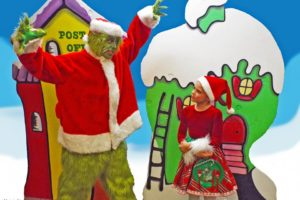 Jim Rose (left) as The Grinch and Abigail Thompson (right) as Cindy Lou Who