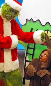 Jim Rose (left) as The Grinch and Sage Allen (right) as Max
