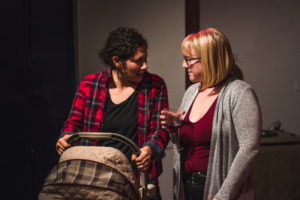 Maranda Kosten (left) as Naomi and Caitlin Rife (right) as Beth in The Ides of May by Laura Fuentes