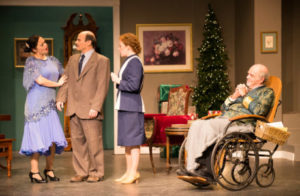 (L to R) Vanessa Berben as Lorraine Sheldon; Alan Barnett as Bert Jefferson; Tracy Dye as Maggie Cutler; and Mike Dunlop as Sheridan Whiteside.