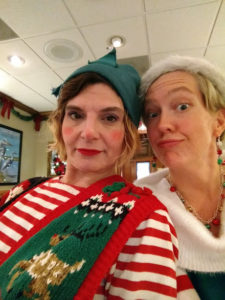 Cybele Pomeroy (left) as Holly Thornbush and Mandy Gunther (right) as Wishful Elf, the wannabe audience member